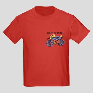 Child Art Born To Ride Kids Dark T-Shirt