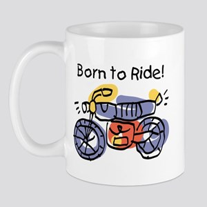 Child Art Born To Ride Mug
