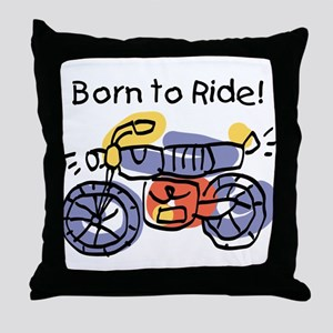 Child Art Born To Ride Throw Pillow