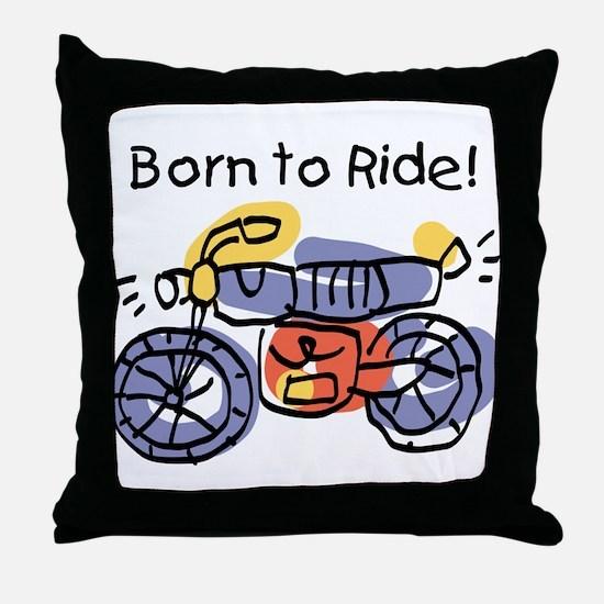Child Art Born To Ride Throw Pillow