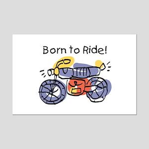 Child Art Born To Ride Mini Poster Print
