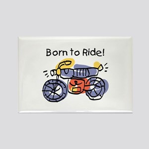 Child Art Born To Ride Rectangle Magnet