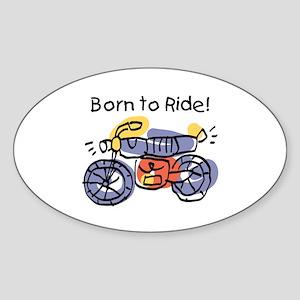 Child Art Born To Ride Oval Sticker