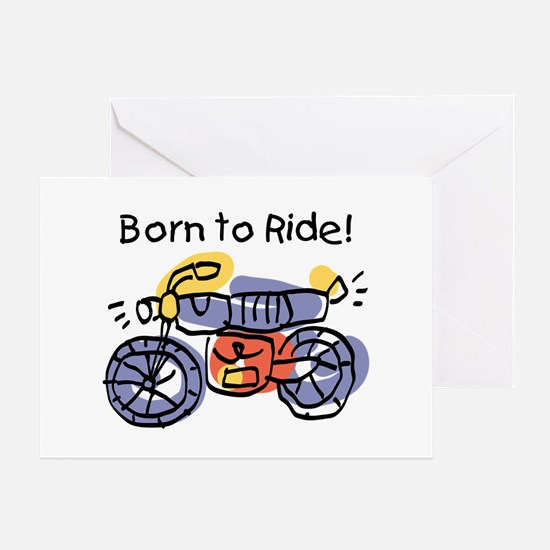 Child Art Born To Ride Greeting Card