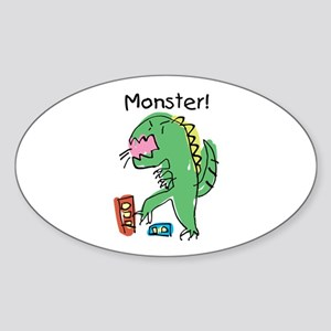 T-Rex Monster Child Art Oval Sticker