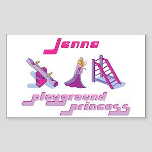 Jenna - Playground Princess Rectangle Sticker