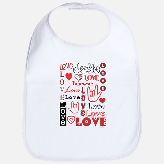 Love WordsHearts Bib