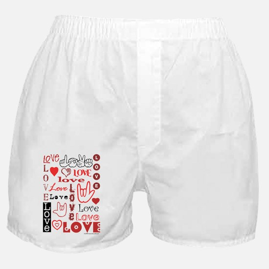 Love WordsHearts Boxer Shorts