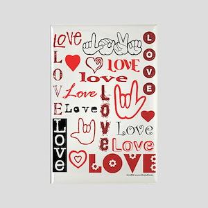 Love WordsHearts Rectangle Magnet
