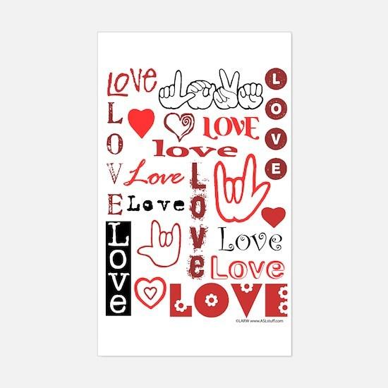 Love WordsHearts Rectangle Decal