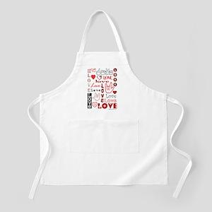 Love WordsHearts BBQ Apron