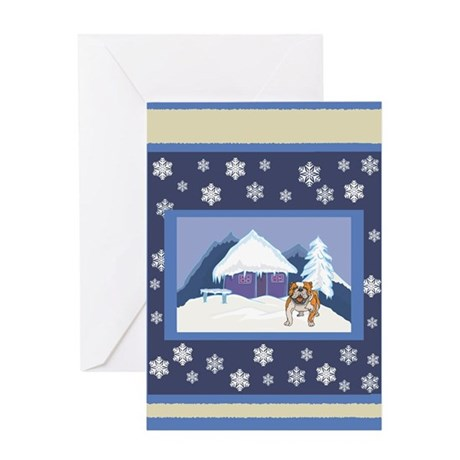 Snowflake Bulldog Greeting Card