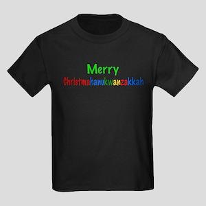 Merry Christmahanukwanzakkah Kids Dark T-Shirt