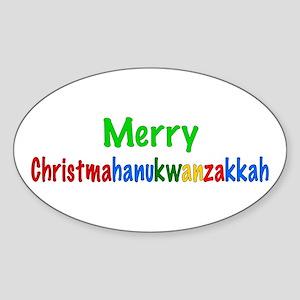 Merry Christmahanukwanzakkah Oval Sticker