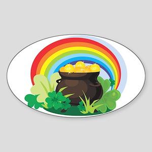 POT OF GOLD Oval Sticker