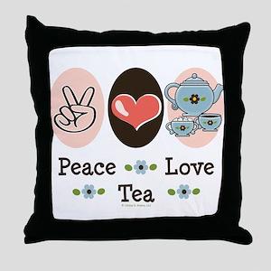 Peace Love Tea Throw Pillow