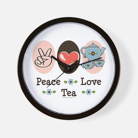 Peace Love Tea Wall Clock