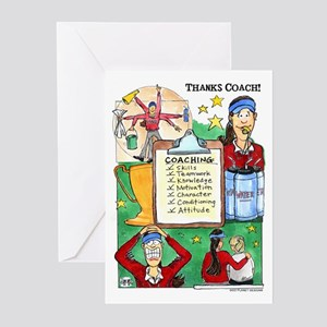Great Coach (F) Thanks! Greeting Cards (Package of