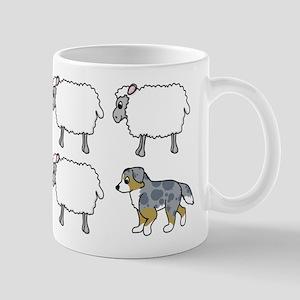 Cartoon Australian Shepherd Herding Mug