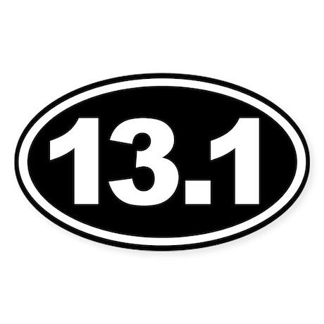 13.1 Half Marathon Oval Euro Sticker Black