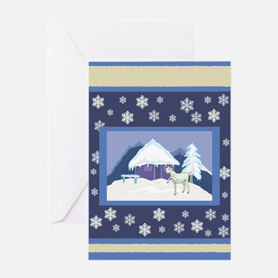 Snowflake Goat Holiday Greeting Card