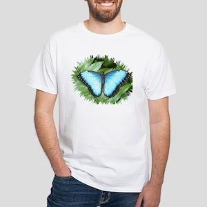 Blue Morpho Butterfly White T-Shirt