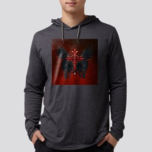 Awesome black wolf with red cross Long Sleeve T-Sh