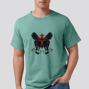 Awesome black wolf with red cross T-Shirt
