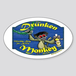 Drunken Monkey Oval Sticker