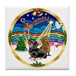 XmasMusic 3/2 Dachshunds Tile Coaster