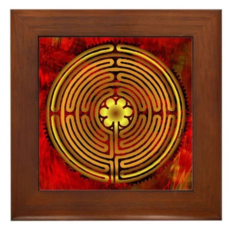 Chartres Labyrinth Fire Framed Tile