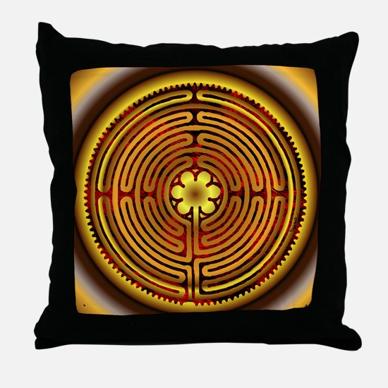 Chartres Labyrinth Fire Throw Pillow