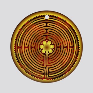 Chartres Labyrinth Fire Ornament (Round)