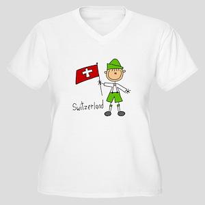 Switzerland Ethnic Women's Plus Size V-Neck T-Shir