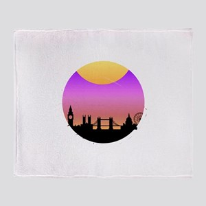 London is Calling City Skyline Sunse Throw Blanket