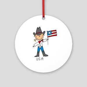 USA Stick Figure Ornament (Round)