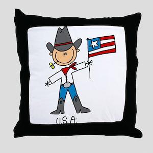 USA Stick Figure Throw Pillow