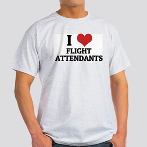 I Love Flight Attendants Ash Grey T-Shirt