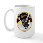 Night Flight/Pug (black) Large Mug