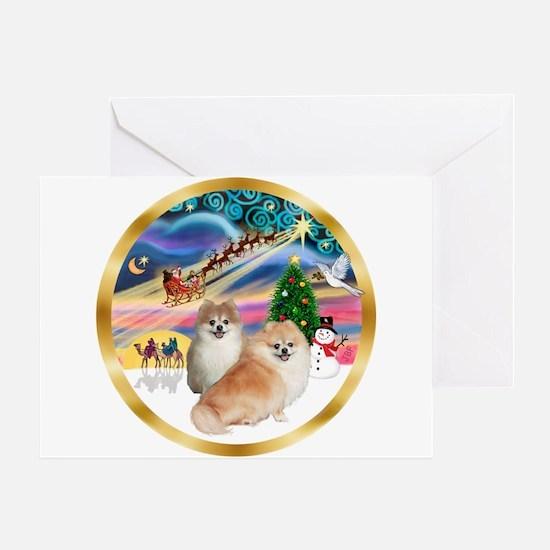 XmasMagic/2 Pomeranians Greeting Card