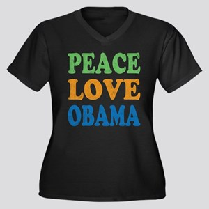 Vintage Love Peace Obama Women's Plus Size V-Neck