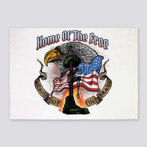 Land of the Free Because of the Bra 5'x7'Area Rug