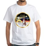 XmasDove/Basenji #2 White T-Shirt
