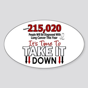 Take Down Lung Cancer 4 Oval Sticker