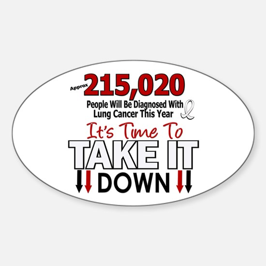 Take Down Lung Cancer 4 Oval Decal