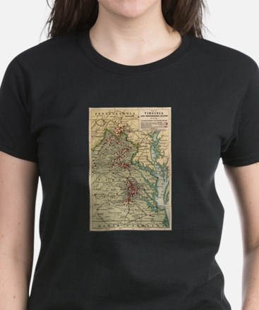 Virginia Civil War Map Women's Dark T-Shirt