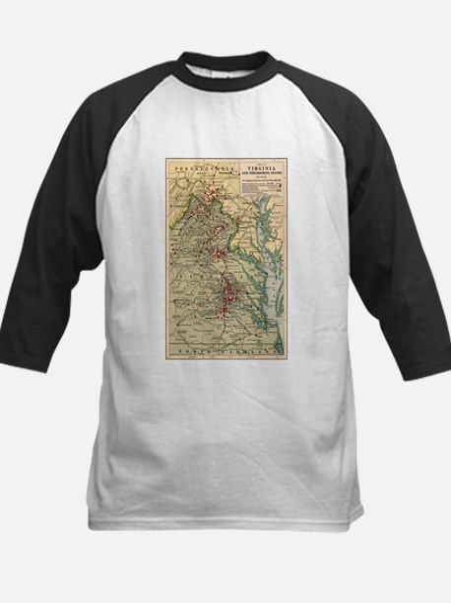 Virginia Civil War Map Kids Baseball Jersey