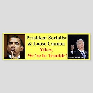 """""""We're In Trouble"""" Bumper Sticker"""