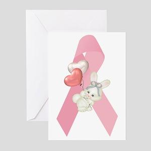 Breast Cancer Ribbon & Bunny Greeting Cards (Packa