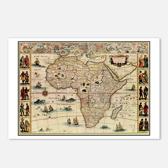 Ancient Africa Map Postcards (Package of 8)